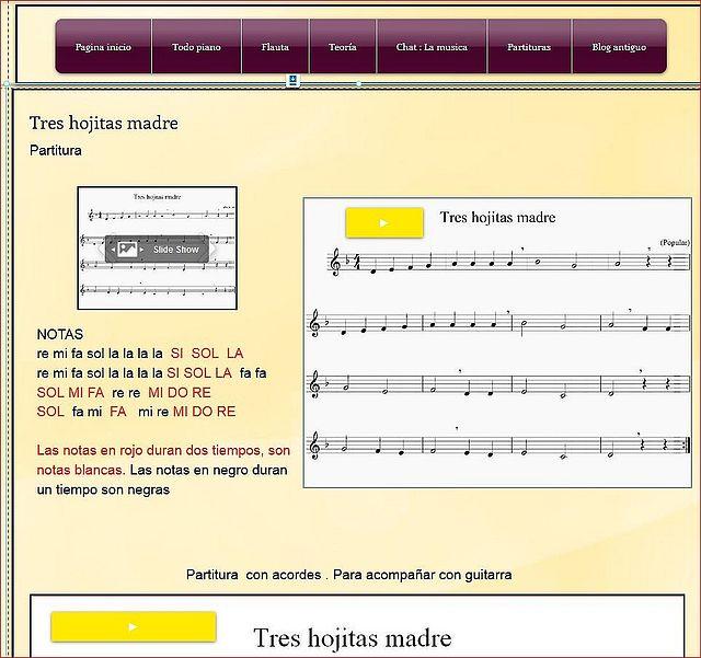Notas flauta. Tres hojitas madre.Lapágina.