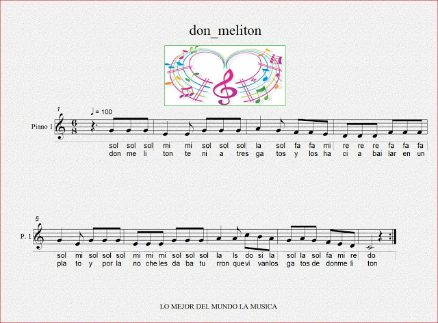 Don Melitón. Notas flauta, canciónvirtual.