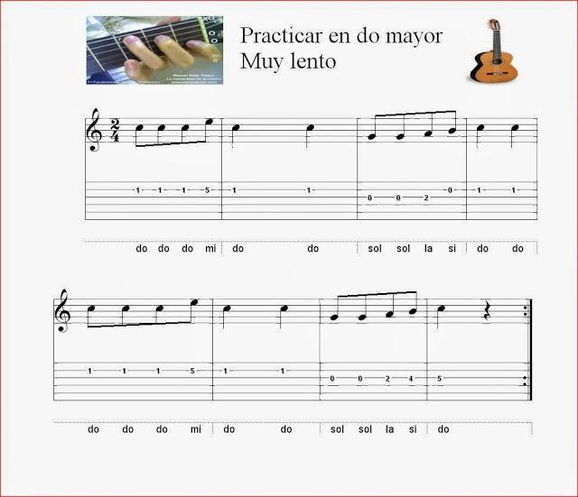 Ejercicio do mayor . Sencillo. Guitarra.Entonación.