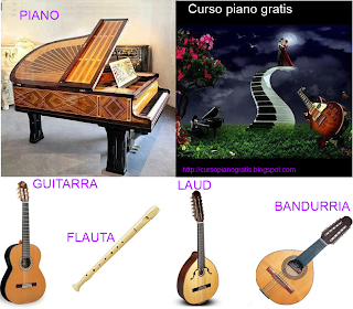 Piano,guitarra,flauta,laúd bandurria.