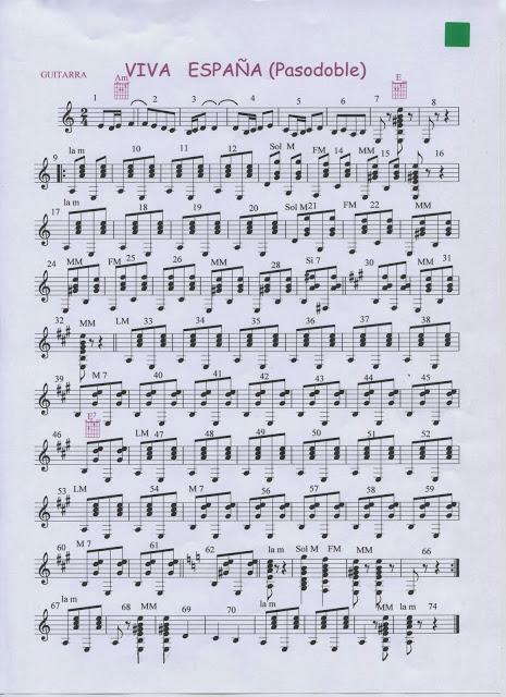 Y viva España. Guitarra , bandurria, melodía.Partituras
