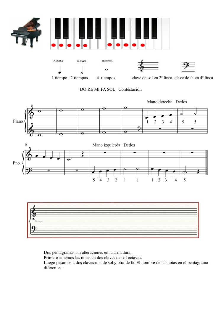 do re mi fa sol ficha contestacion. - Partitura completa